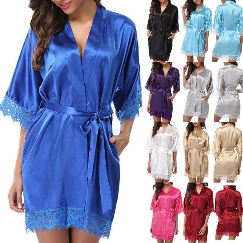 Women Ladies Satin Plain Silk Sleepwear Nightgowns Womens Smooth Pink Red Gold Silver Blue White Black Sleepshirt With Slash