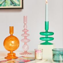 Candle-Holders Vase-Table Bookshelf-Decoration Glass-Candlesticks Taper Party Wedding