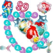 Grande sereia folha balões ariel dos desenhos animados princesa ballon látex número ballonhélio crianças decoração de aniversário globos festa suprimentos