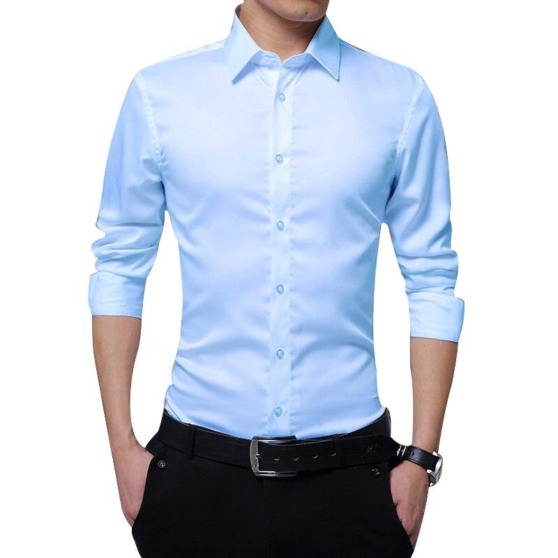 남성 긴 소매 셔츠 슬림 맞는 솔리드 비즈니스 정장 셔츠 가을 남성 셔츠 화이트 셔츠