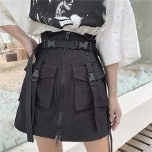 Frauen Sommer Harajuku Rock mit Gürtel Tasche Zipper Dekorative Werkzeug Röcke Weibliche Mode Hohe Taille Mini Rock 2 farben