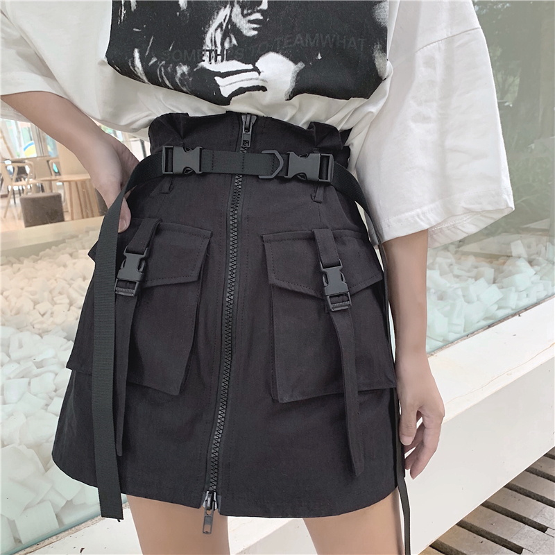 Women's Summer Harajuku Skirt With Belt Pocket Zipper Decorative Tooling Skirts Female Fashion High Waist Mini Skirt 2 Colors
