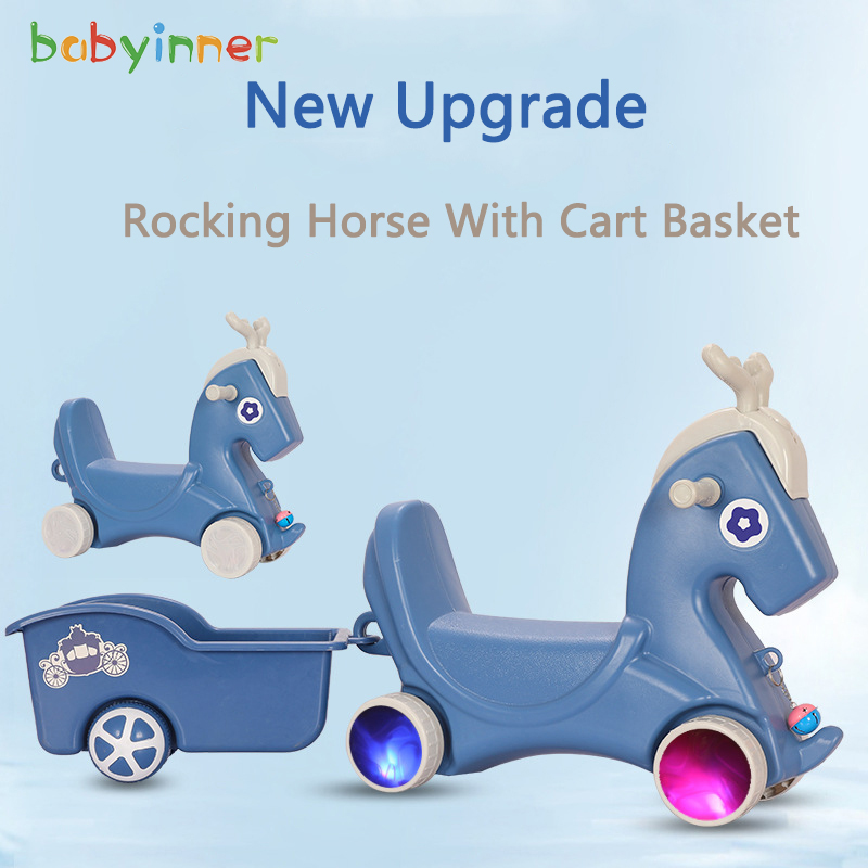 Baby Inner Kid Rocking Horse Multifunctional Baby Trojan Ride on Horse Toys with Basket Christmas Gift 28*24*10in