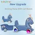 Bebê interior criança cavalo de balanço multifuncional bebê trojan passeio no cavalo brinquedos com cesta presente de natal 28*24 * 10in