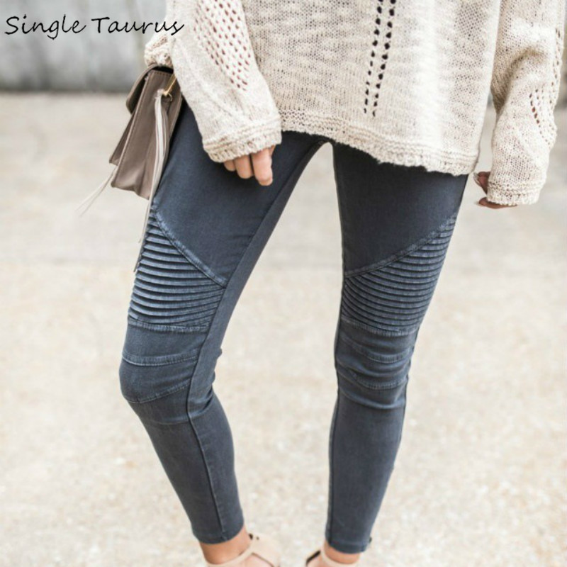 Moto & Biker Fashion Stretch Cotton Skinny Jeans Women Pleated Vintage Pencil Pants Locomotive High Waist Push Up Trousers Mujer|skinny jeans woman|fashion jeans womenjeans fashion women - AliExpress