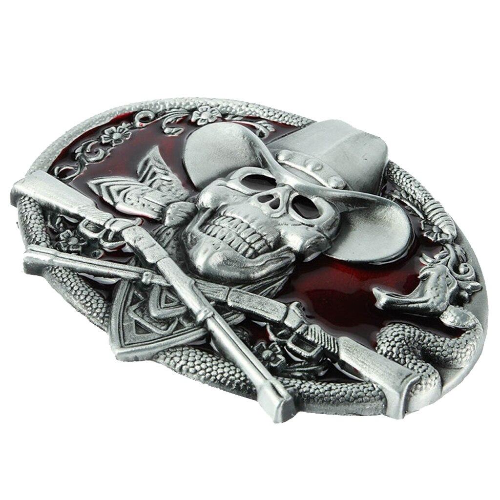 Western Cowboy 3D Skull Head Around Rattle Mens Metal Belt Buckle Halloween Costume For 3.6-3.9cm Belts