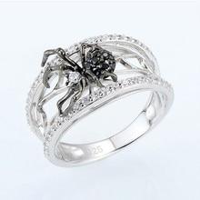 Anillos Punk de araña negra para placa para mujeres, joyería de plata, anillo de dedo para mujeres, anillo grande Vintage de moda para hombres, anillos regalos de boda de roca