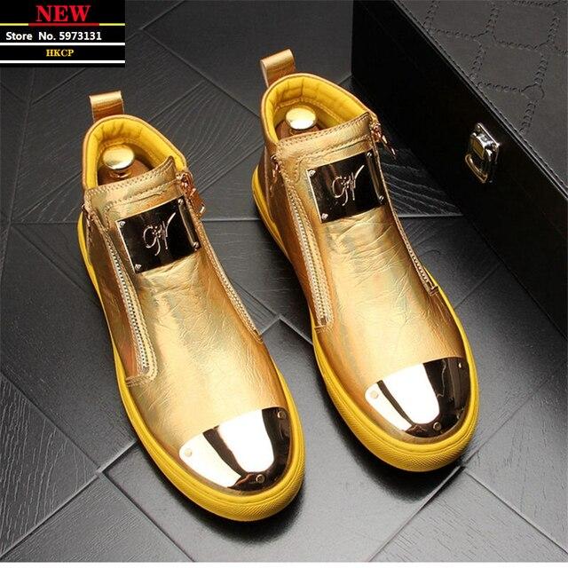 Zapatillas de cuero dorado para Hombre, zapatos informales Punk, Hip Hop, botines planos con cremallera 1