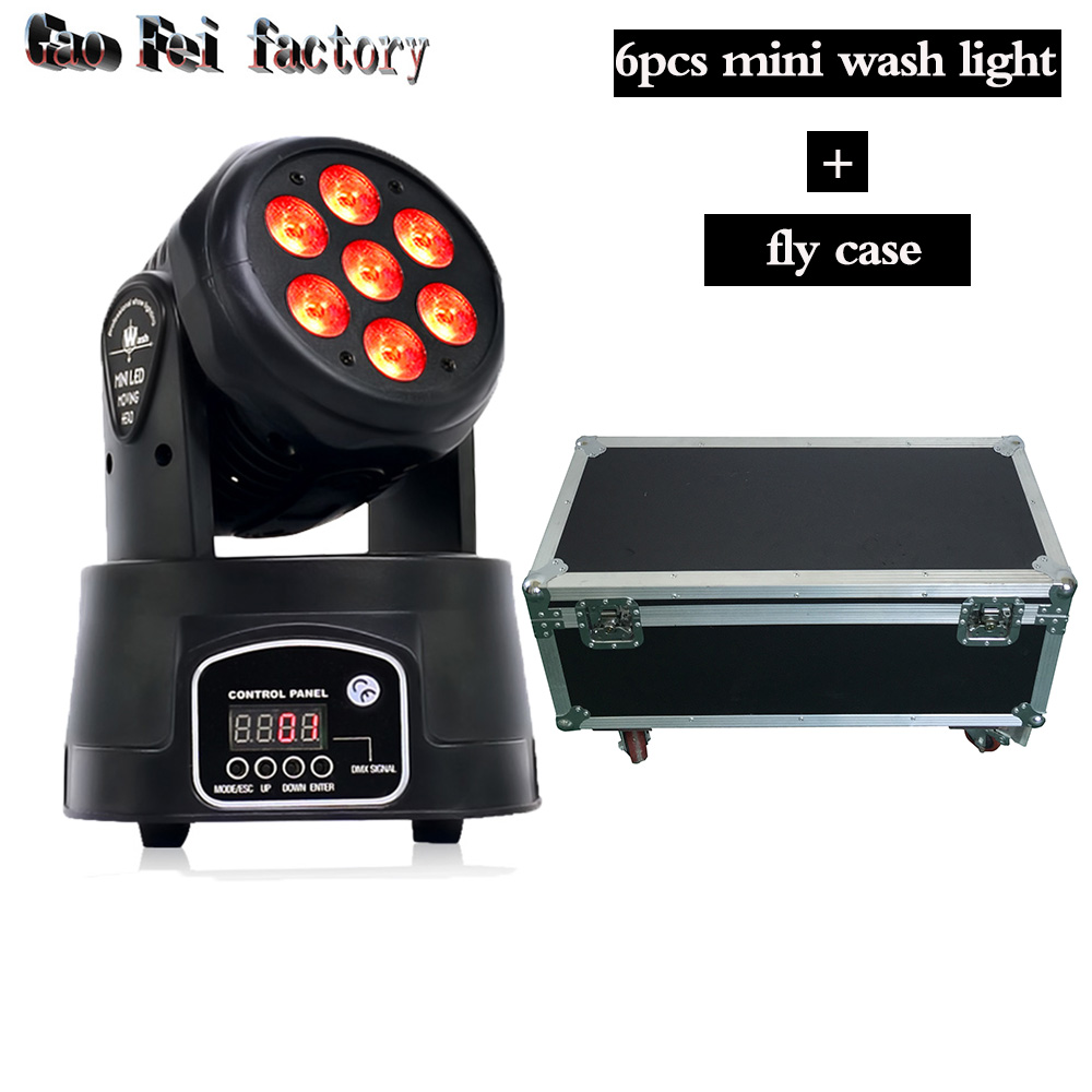 flight case with rgbw moving head stage light 7x12W led DMX Wash dj stage light disco party light moving heads