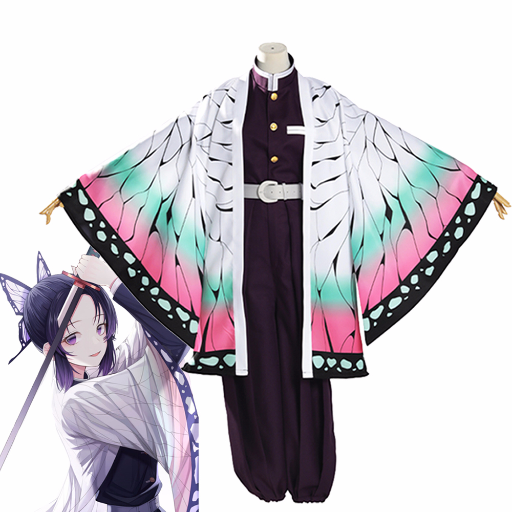 Kochou Shinobu костюм для косплея демон убийца Kimetsu no Yaiba кимоно униформа для женщин Хэллоуин Карнавал Полный комплект униформы плащ парик