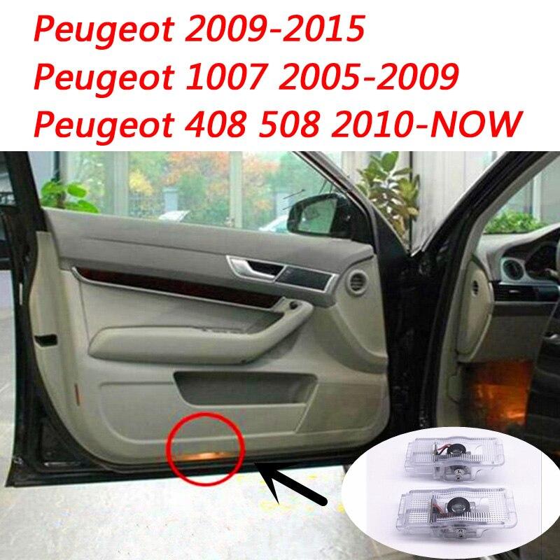 2pcs Car LED Door Welcome Logo Light Laser Projector Lights For Peugeot 408 2010 - 2014 508 2010- 2018 RCZ 2010 - 2014 1007