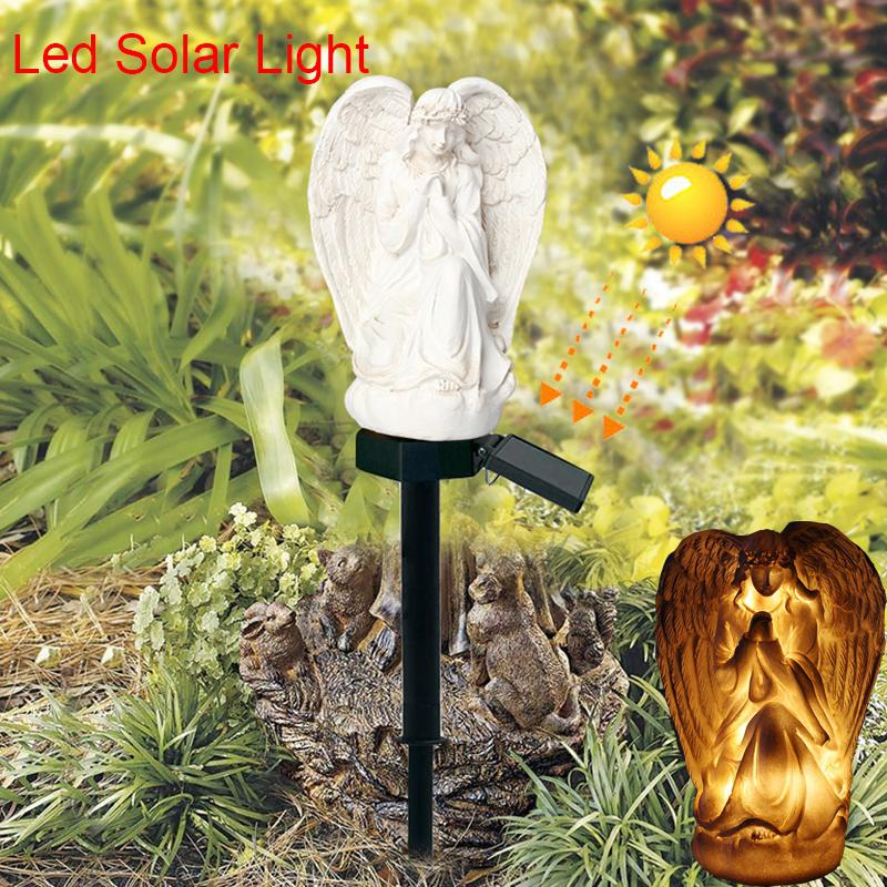 Solar Stake Lights Outdoor Angel Pattern Solar Light LED Lawn Lamp Waterproof Outdoor Yard Lighting Lawn Landscape Lights