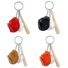 Mini Three-piece Baseball Glove Wooden Bat Keychain Sports Car Key Ring Gift for