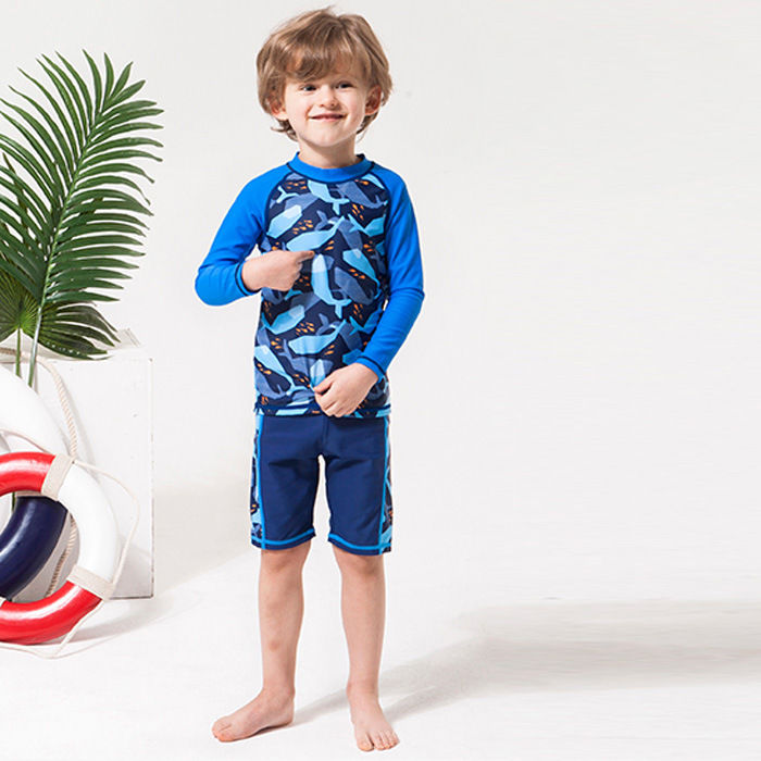 Europe And America Two-piece Swimsuits Boy Middle And Large Small CHILDREN'S Long Sleeve Sun-resistant Shorts Students South Kor