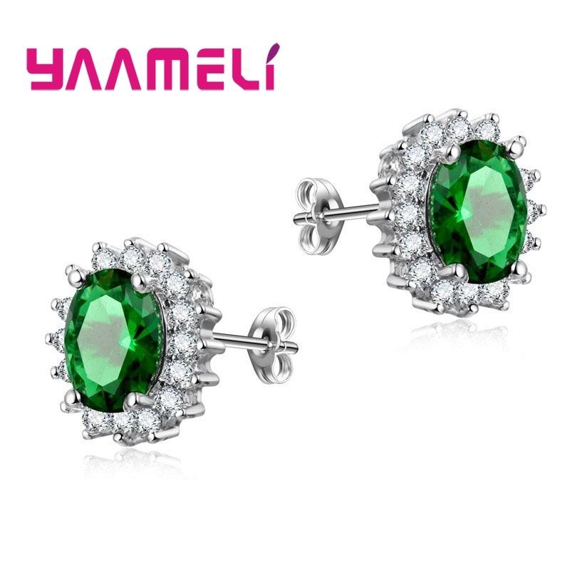 100% Pure 925 Sterling Silver Stud Earrings Oval Cubic Zircon Crystal Jewelry For OL Women Fine Wedding Engagament Bijoux