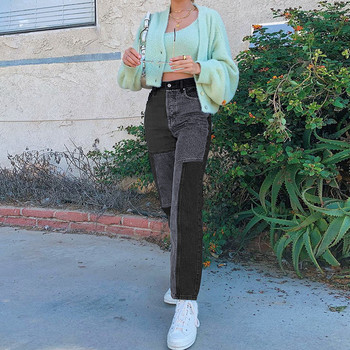 Women's 2021 New Street Fashion And High Street Gray Black Jointed High-Waisted Slimming Straight-leg Jeans Loose Long Trousers 3