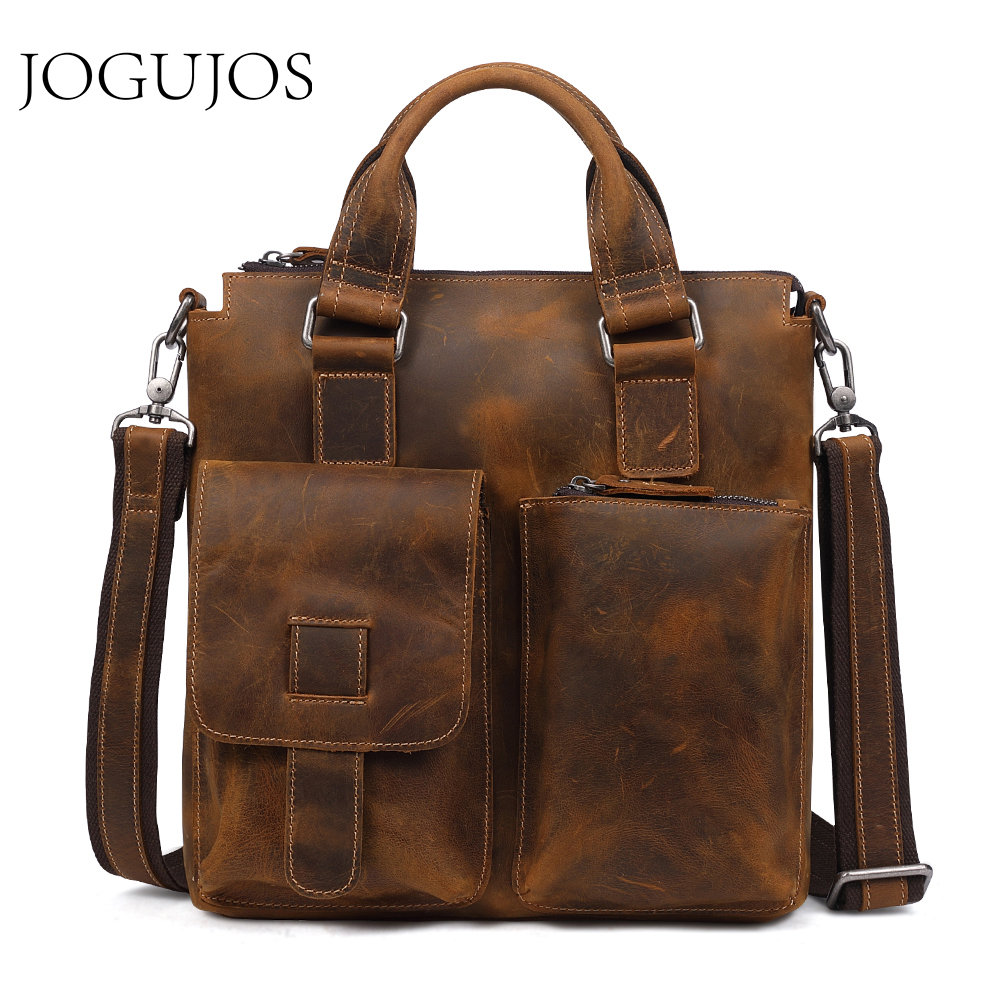 JOGUJOS Genuine Leather Upgrade Crazy Horse Briefcase Luxury Designer Men's Briefcase Men's Shoulder Corssbody Bag Travel Bag