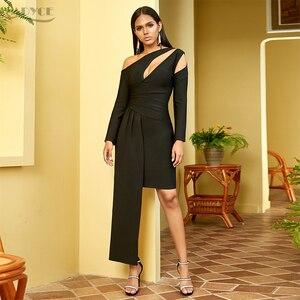 Image 2 - Adyce 2020 nouveau hiver à manches longues robe de pansement femmes Sexy évider une épaule Mini noir Club célébrité soirée robe de soirée