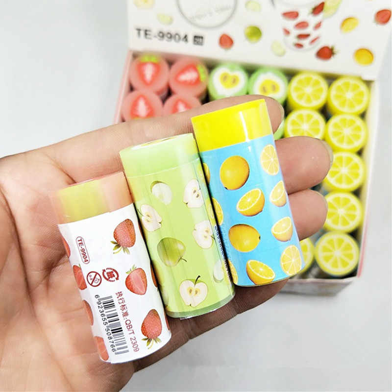 1PC Cute Erasers Fruit Strawberry Lemon Rubbers Pencil Erasers For Kids Girls Gift Back to School Supplies Novelty Stationery