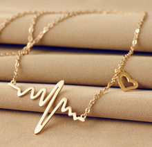 2021 simple and fashionable ECG necklace titanium steel rose gold necklace trend necklace the best gift for girlfriend
