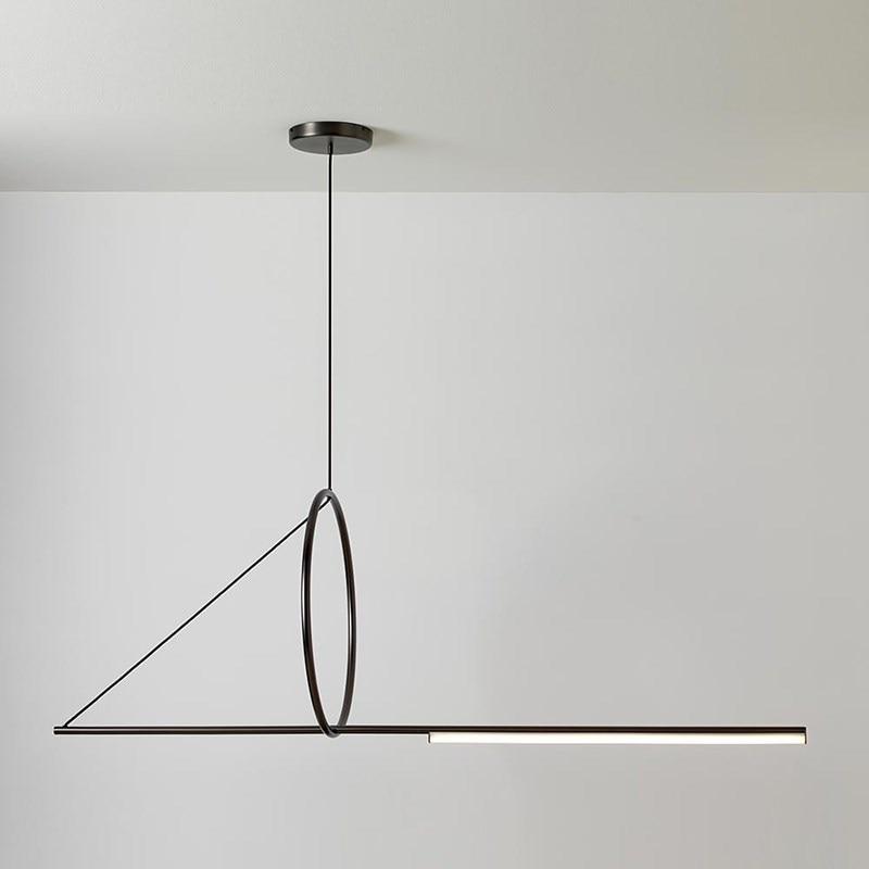 Nordic postmodern restaurant dining room showroom chandelier simple creative personality fish line bar geometric LED hanglamp