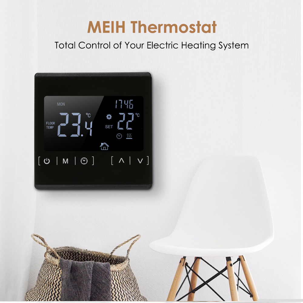 AC85-240V Temperature Controller With LCD Touch Screen Thermostat Control Electric Floor Heating System Heating Thermoregulator