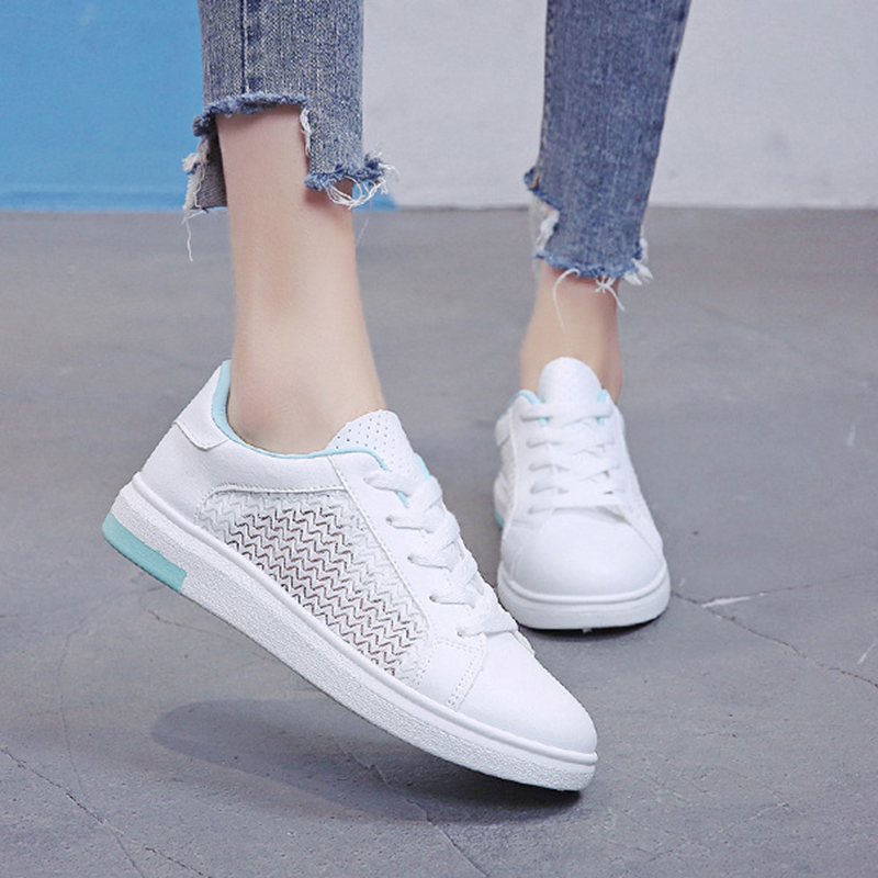 Sneakers Women Breathable Mesh Summer Autumn Women Causal Shoes Fashion White Leather Flat Walking Female Vulcanize Shoes VT1247 (12)
