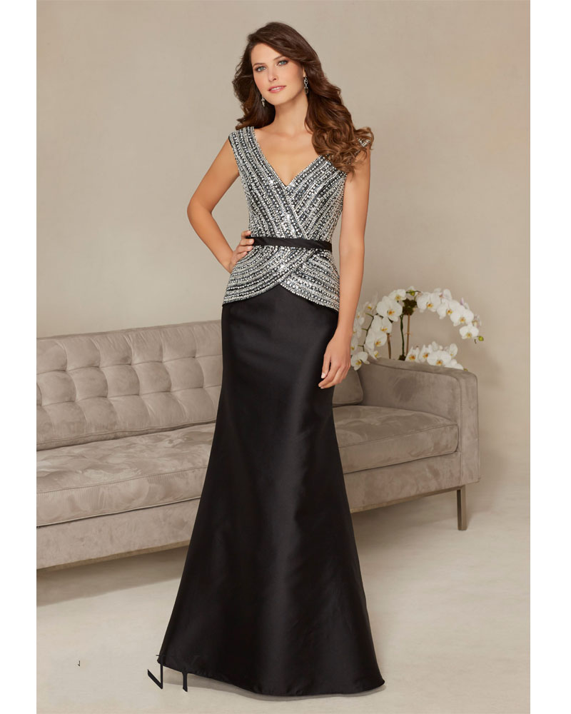 Robe De Soiree Black Double V-neck Crystal Beading Mermaid Floor Length Formal Evening Gown 2018 Mother Of The Bride Dresses