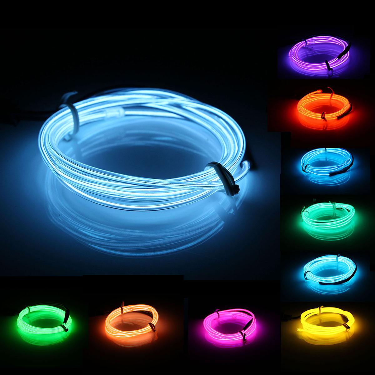 1M EL LED EL Wire Flexible Soft Tube Wire Neon Glow Car Rope 10 Colors  LED Strip DC 12V Light Party Christmas Decoration