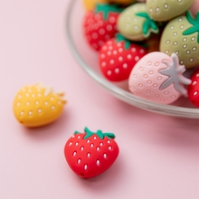 50pcsBaby Silicone Beads Strawberry Bead Teething Tiny Rod Rodent DIY Pacifier Chain Necklace