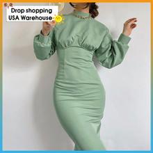 Женское трикотажное платье с длинным рукавом и круглым вырезом