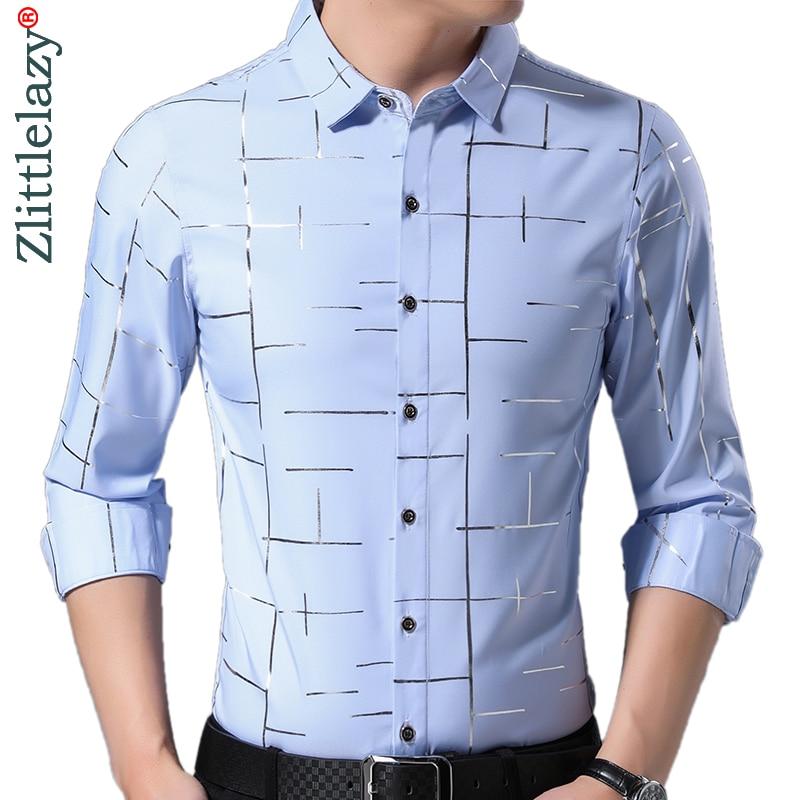 2019 Brand Casual Luxury Striped Long Sleeve Slim Fit Men Shirt Streetwear Social Dress Vintage Shirts Mens Fashions Jersey 9316