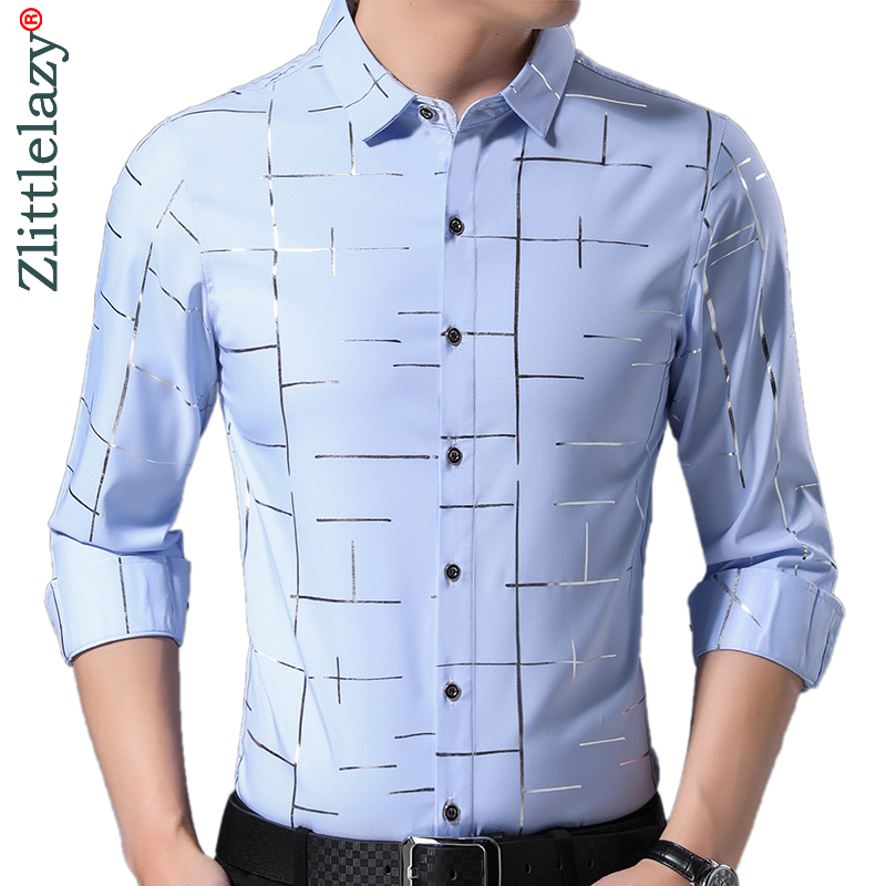 2020 Brand Casual Luxury Striped Long Sleeve Slim Fit Men Shirt Streetwear Social Dress Vintage Shirts Mens Fashions Jersey 9316