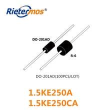 100 Uds 1.5KE250A 1.5KE250CA DO 201AD de alta calidad