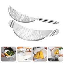 1 Set Practical Portable Durable Stainless Steel Pan Strainer Pasta Strainers Pot Strainer for Home Restaurant Hotel(China)