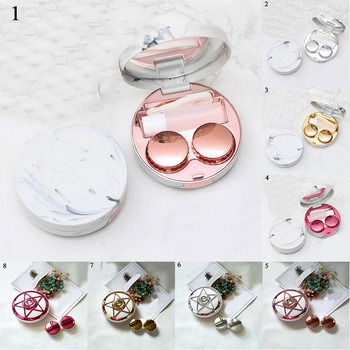 Eyes Care Container Cute Round Lens Case Mirror Travel Glasses Lenses Fashion Classic Box Kit Holder Marble Contact Lens Case 1pcs colored contact lens case with mirror women man unisex contact lenses box eyes contact lens container lovely travel kit box