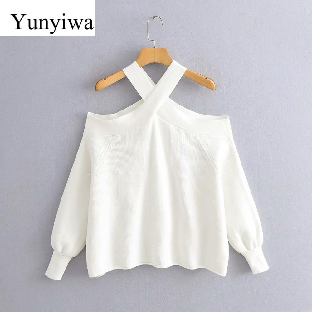 New 2020 New Women Fashion Cross Strap Off Shoulder Sweater Ladies Basic Knitted Casual Slim High Street Sweaters Chic Tops