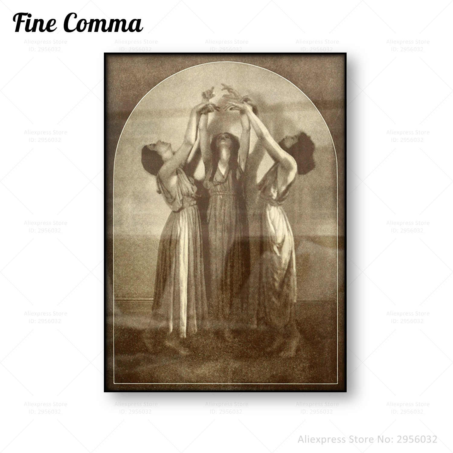 Three Witches Vintage Poster Anqitue Wall Art Canvas Print Women Dancing Wicca Pagan Sorceress Priestess Coven Witchcraft Seance