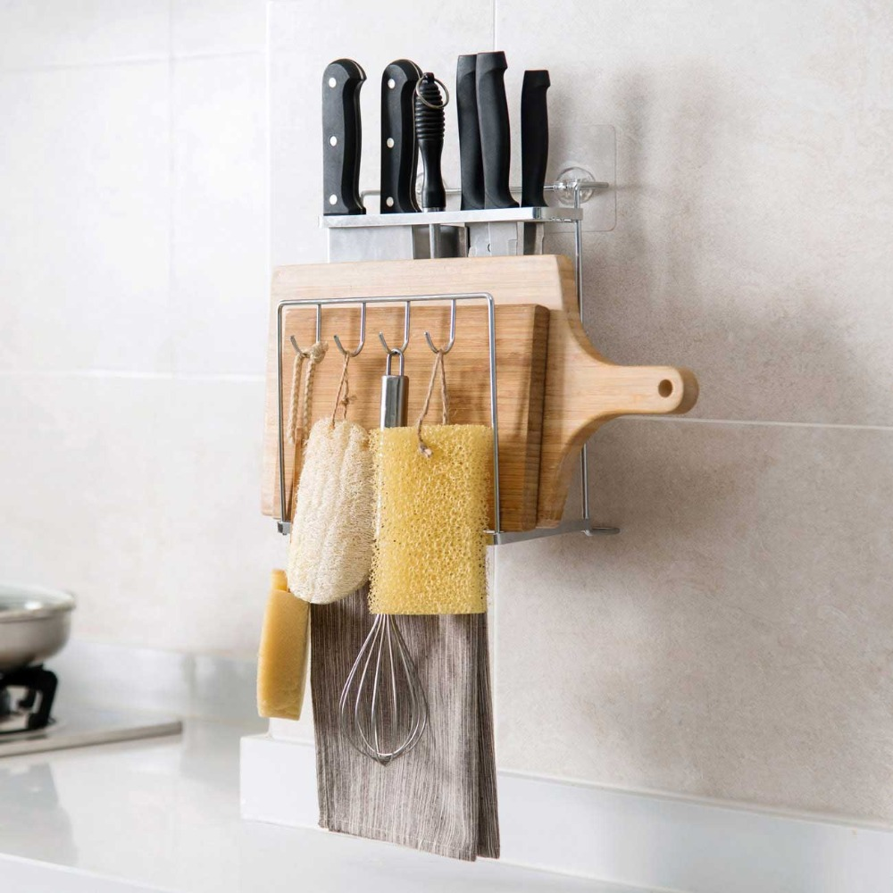 1PC Metal Cutting Board Storage Rack Pot Rack Wall Mounted Knife Holder Kitchen Utensil Organizer Rack