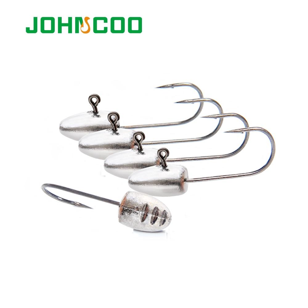 JOHNCOO 10pcs Lead Head Hook 2g 3g 5g 7g 10g Jig Head Hook Soft Lure Worm Jigging Hook Rockfish Hook