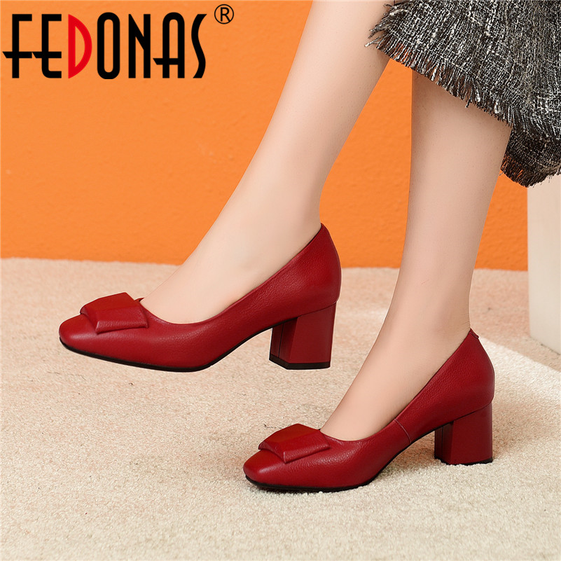 FEDONAS Spring Quality Genuine Leather Shallow Women Brand Pumps Elegant Office Basic Dancing Shoes Woman Plus Size Square Heels