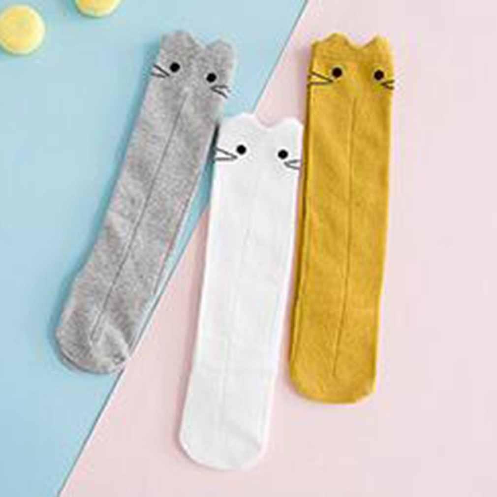 Bonitos calcetines de bebé de dibujos animados suaves medias cómodas de algodón antideslizantes calcetines de rodilla para niños pequeños gruesos calcetines de invierno cálido