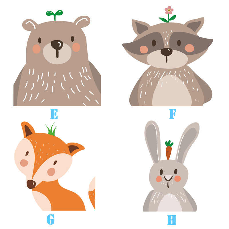 Nordic Minimalist Decoration Painting Cute Animal for Kids Bear Fox Rabbit Wall Pictures for Living Room Anime Poster Cartoon