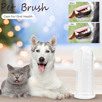 1pc Pet Toothbrush Soft Finger Plush Dog Cat Puppy Washing Brush Hygiene Bad Breath Care Tartar Cleaning Supplies image
