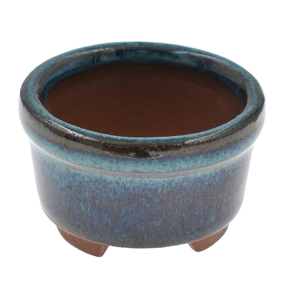 1pc Chinese Bonsai Flower Pot Dark Blue Round Glazed Succulent Plants Pot For Plants Glazed Pot Planter Home Decoration
