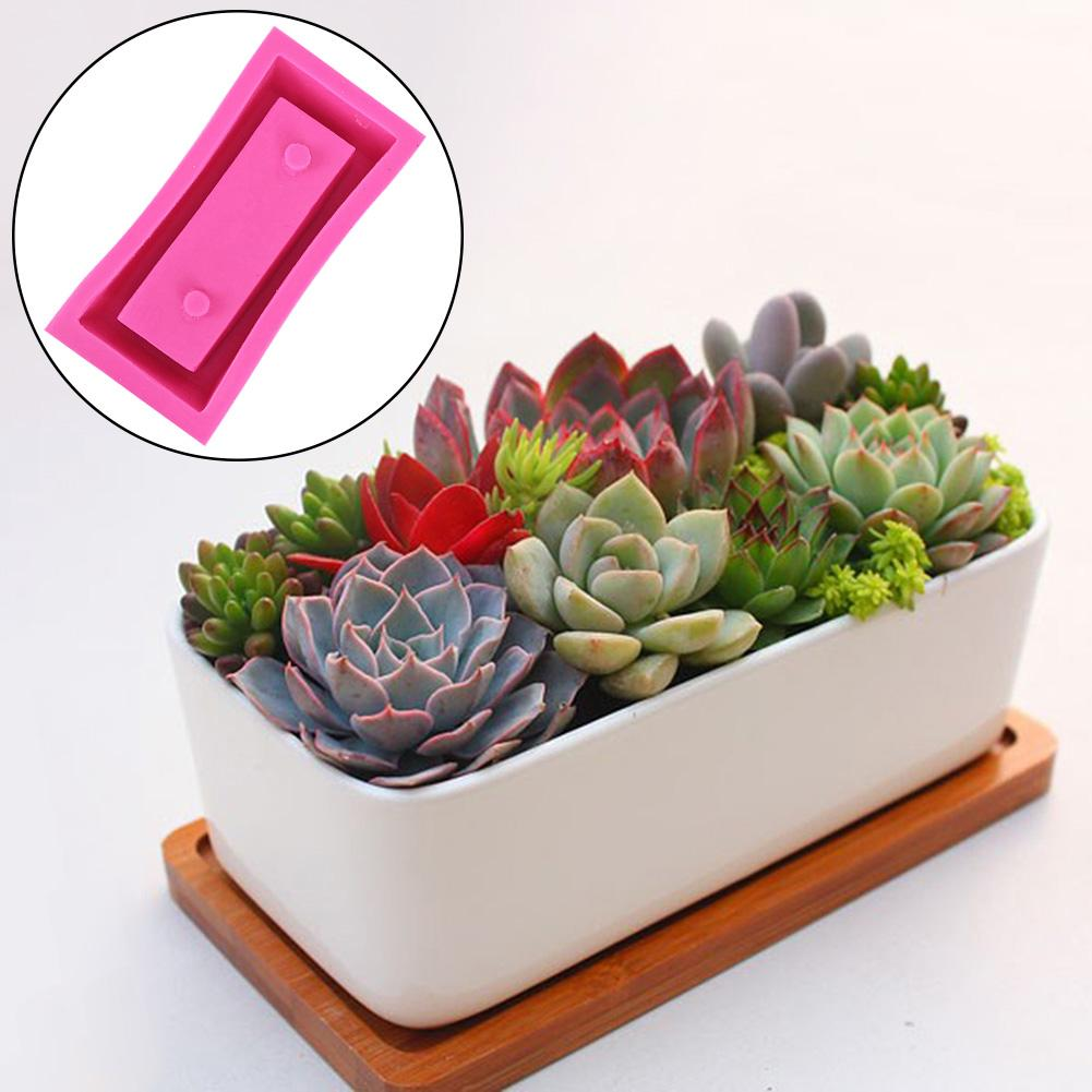 1PC Silicone Mold Clear Water Concrete Cement Flower Pot Silicone Concrete Mold Rectangular Flower Pot Silicone Concrete MoldsClay Molds   -