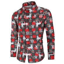 Оформление складов) Рождественская рубашка блузка мужская повседневная тема на пуговицах рубашка Топ Блузки