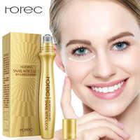 ROREC Anti-Wrinkle Snail Eye Serum Collagen Essence for Eyes Anti Puffiness Against Bags Hyaluronic Acid Moisturizing Cream 15ml