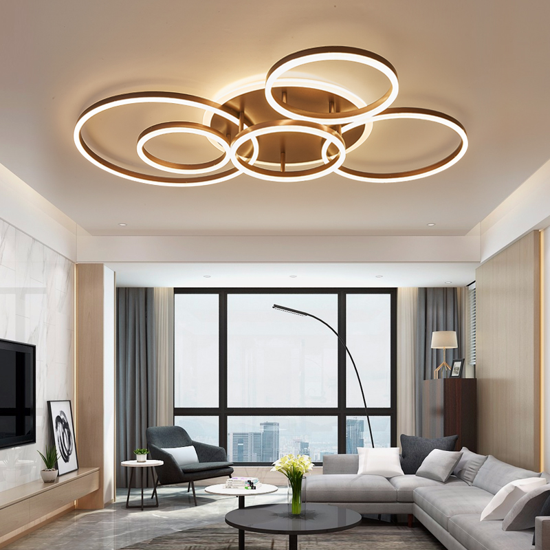 Marrone/bianco led lampadario Per Soggiorno cucina Camera Da Letto Camera  lampadario Inddor Illuminazione Casa moderna Illuminazione lampadario ...