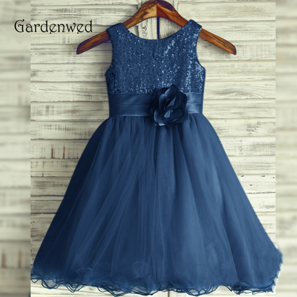 Sequin Lace Bodice Blue   Flower     Girl     Dress   2019 Sleeveless Tulle A line   Flowers   Belt Child Pageant   Dress     Girl   Wedding Princess